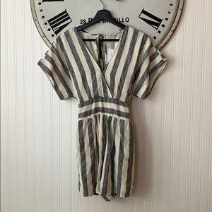 Striped Linen Jumpsuit Romper